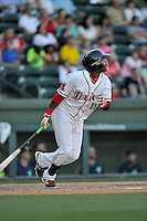 Center fielder Luis Alexander Basabe (19) of the Greenville Drive bats in a game against the Columbia Fireflies on Sunday, April 24, 2016, at Fluor Field at the West End in Greenville, South Carolina. Greenville won, 5-1. (Tom Priddy/Four Seam Images)