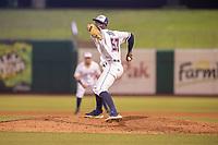 Northwest Arkansas Naturals pitcher Yunior Marte (57) delivers a pitch on May 16, 2019, at Arvest Ballpark in Springdale, Arkansas. (Jason Ivester/Four Seam Images)