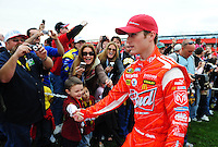 Feb 22, 2009; Fontana, CA, USA; NASCAR Sprint Cup Series driver Kasey Kahne interacts with fans during the Auto Club 500 at Auto Club Speedway. Mandatory Credit: Mark J. Rebilas-