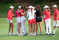 The Razorback women's golf team celebrates Wednesday Oct. 6, 2021 after finishing their round at the Blessings Collegiate golf tournament in Johnson. Visit nwaonline.com/210001007Daily/  (NWA Democrat-Gazette/J.T. Wampler)