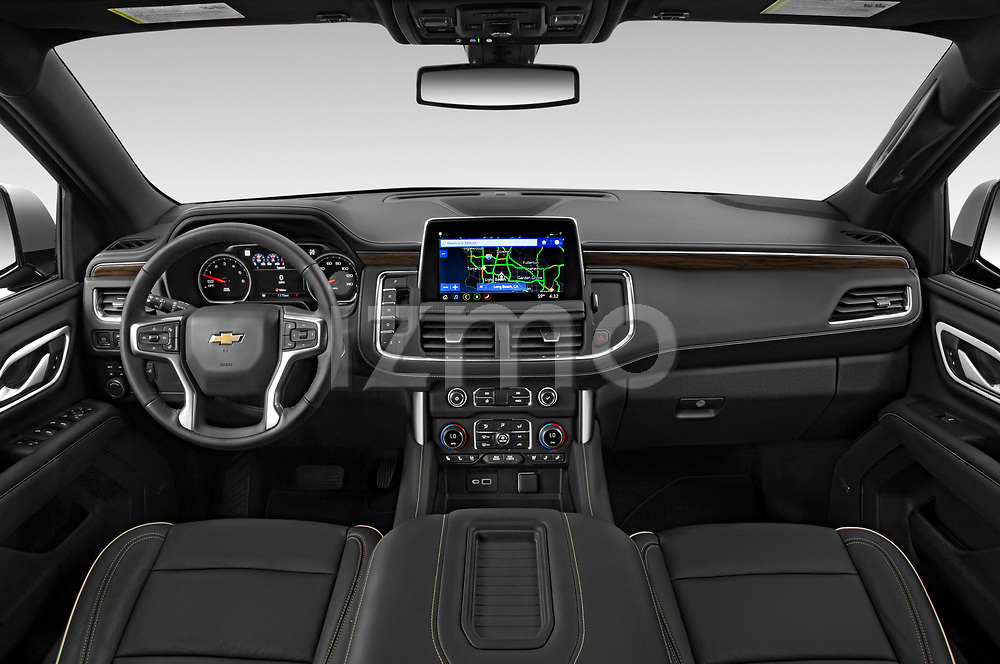 Straight dashboard view of a 2021 Chevrolet Tahoe Premier 5 Door SUV