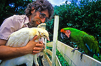 Sylvan Schwab at the East Maui Animal Refuge in Haiku, Maui, showcases some of its residents. The refuge is a rehabilitation sanctuary for injured and orphaned animals who would otherwise die.