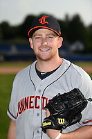 Connecticut Tigers pitcher Spencer Turnbull (43) poses for a photo before a game against the Batavia Muckdogs on July 21, 2014 at Dwyer Stadium in Batavia, New York.  Connecticut defeated Batavia 12-3.  (Mike Janes/Four Seam Images)