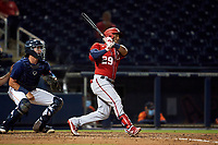 Washington Nationals Yadiel Hernandez (29) bats during a Major League Spring Training game against the Houston Astros on March 19, 2021 at The Ballpark of the Palm Beaches in Palm Beach, Florida.  (Mike Janes/Four Seam Images)