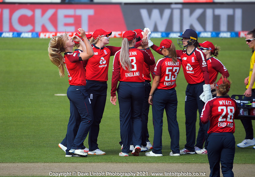England's Freya Davies (left) celebrates dismissing Maddy Green for a duck during the 2nd international women's T20 cricket match between the New Zealand White Ferns and England at Sky Stadium in Wellington, New Zealand on Friday, 5 March 2021. Photo: Dave Lintott / lintottphoto.co.nz