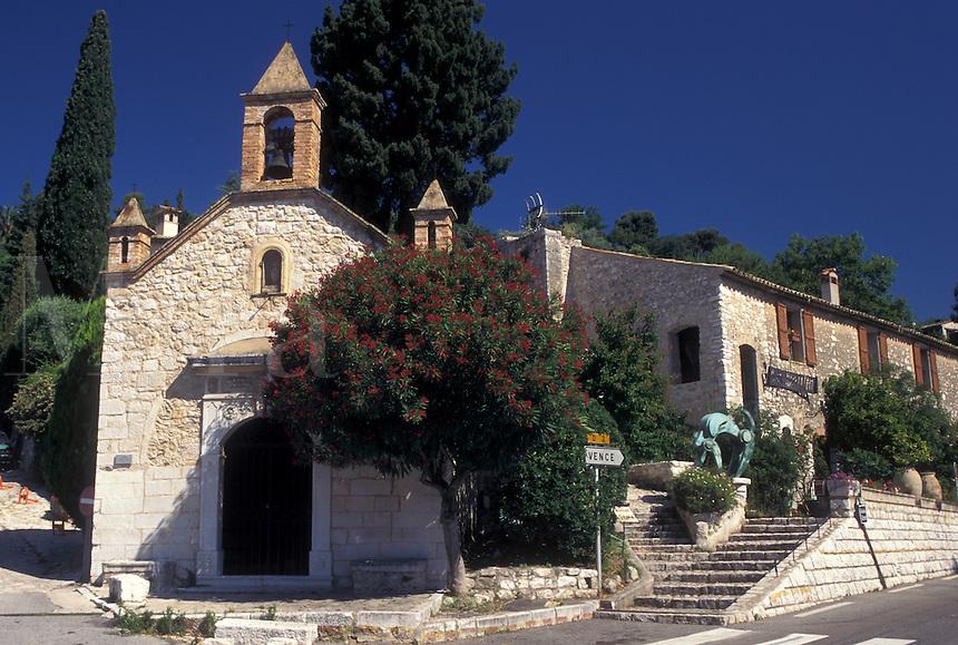 church, France, St.Paul de Vence, Cote d' Azur, Provence, Alpes-Maritimes, Europe, Historic church in the hilltop village of Saint Paul de Vence.