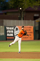 AZL Giants shortstop Francisco Medina (37) on defense against the AZL Reds on August 12, 2017 at Scottsdale Stadium in Scottsdale, Arizona. AZL Giants defeated the AZL Reds 1-0. (Zachary Lucy/Four Seam Images)