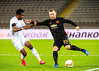 12th March 2020, TGW Arena, Pasching, Austria; UEFA Europa League football,  LASK versus Manchester United; Samuel Tetteh LASK Linz beaten by the cut back from Luke Shaw Manchester United