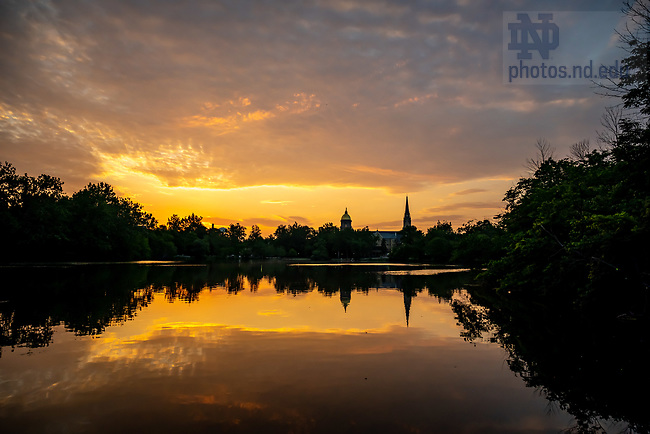 July 8, 2020; Sunrise over St. Mary's Lake (Photo by Matt Cashore/University of Notre Dame)