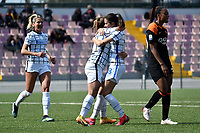 Marta Pandini of FC Internazionale (2L) celebrates with team mates after scoring the goal of 4-2 for her side during the Women Serie A football match between AS Roma and FC Internazionale at stadio Agostino Di Bartolomei, Roma, March 20th, 2021. AS Roma won 4-3 over FC Internazionale. Photo Andrea Staccioli / Insidefoto