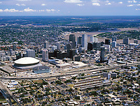 aerial photograph of the New Orleans Louisiana skyline with Superdome, 1999
