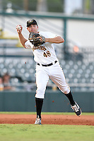 Bradenton Marauders third baseman Eric Wood (48) throws to first during a game against the Jupiter Hammerheads on June 25, 2014 at McKechnie Field in Bradenton, Florida.  Bradenton defeated Jupiter 11-0.  (Mike Janes/Four Seam Images)