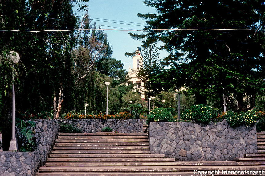 Philippines: Baguio--Hillside Jose Rizal Park. City Hall in background. Photo '82.
