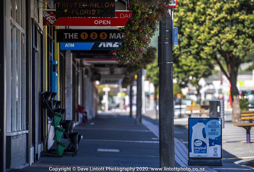 Tawa town centre at midday, Wednesday, during lockdown for the COVID19 pandemic in Wellington, New Zealand on Wednesday, 15 April 2020. Photo: Dave Lintott / lintottphoto.co.nz