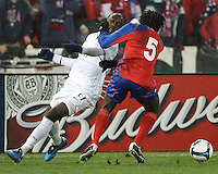 Jozy Altidore #17 of the USA loses the ball to Denis Marshall #5 of Costa Rica during a 2010 World Cup qualifying match in the CONCACAF region at RFK Stadium on October 14 2009, in Washington D.C.The match ended in a 2-2 tie.