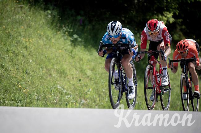 Julian Alaphilippe (FRA/Deceuninck - Quick-Step) enthusiastically bombing down the hill<br /> <br /> Stage 8: Cluses (FRA) to Champéry (SUI)(113km)<br /> 71st Critérium du Dauphiné 2019 (2.UWT)<br /> <br /> ©kramon