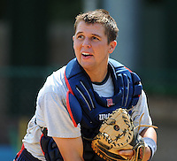 Catcher Buddy Munroe (4) of the Elizabethton Twins in a game against the Danville Braves on July 16, 2010, at Joe O'Brien Field in Elizabethton, Tenn. Photo by: Tom Priddy/Four Seam Images