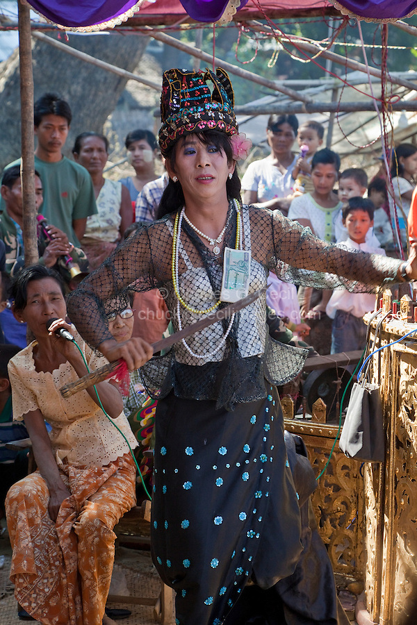 Myanmar, Burma, Bagan.  Nat Pwe, a Ceremony to Thank the Spirits for a Year of Good Fortune.