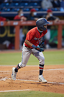 Jose Devers (27) of the Jacksonville Jumbo Shrimp starts down the first base line against the Durham Bulls at Durham Bulls Athletic Park on May 15, 2021 in Durham, North Carolina. (Brian Westerholt/Four Seam Images)