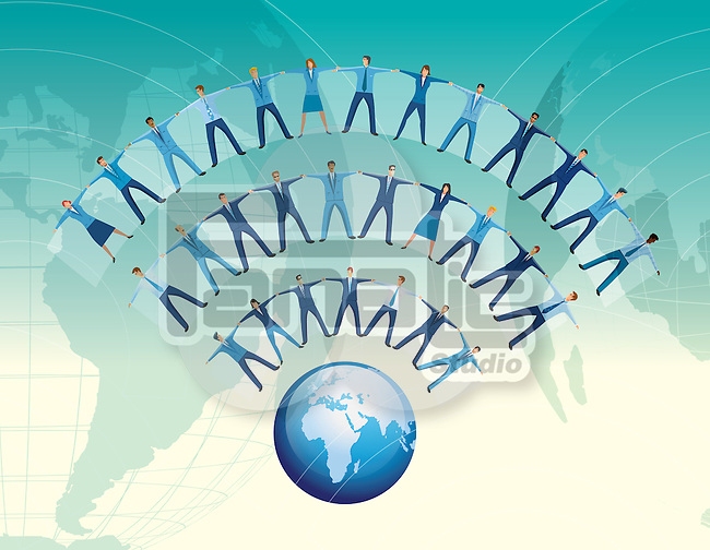 Team of business people forming WIFI symbol wave