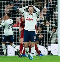 Tottenham's Kyle Walker-Peters reacts to Tottenham's missed shot<br /> <br /> Photographer Stephanie Meek/CameraSport<br /> <br /> The Premier League - Tottenham Hotspur v Liverpool - Saturday 11th January 2020 - Tottenham Hotspur Stadium - London<br /> <br /> World Copyright © 2020 CameraSport. All rights reserved. 43 Linden Ave. Countesthorpe. Leicester. England. LE8 5PG - Tel: +44 (0) 116 277 4147 - admin@camerasport.com - www.camerasport.com