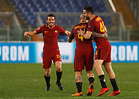 Roma players, from left, Alessandro Florenzi, Radja Nainggolan and Kostas Manolas celebrate at the end of the Uefa Champions League round of 16 second leg soccer match between Roma and Shakhtar Donetsk at Rome's Olympic stadium, March 13, 2018. Roma won. 1-0 to join the quarter finals.<br /> UPDATE IMAGES PRESS/Riccardo De Luca