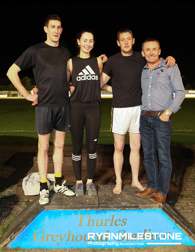 """2017 Upperchurch/Drombane GAA """" Fastest Family Fundraiser"""" <br /> The GAA club held a fundraising night in Thurles Greyhound Stadium where along with the usual programme of greyhound races there was a special relay race between 10 local families to find out who was the fastest. Each mixed gender team consisted of 3 members.<br /> <br /> Thurles Greyhound Stadium,<br /> Saturday 30th September 2017.<br /> <br /> Photo By: Michael P Ryan"""