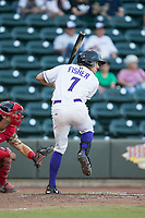 Jameson Fisher (7) of the Winston-Salem Dash at bat against the Potomac Nationals at BB&T Ballpark on August 5, 2017 in Winston-Salem, North Carolina.  The Dash defeated the Nationals 6-0.  (Brian Westerholt/Four Seam Images)