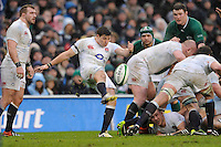Ben Youngs of England sends up a box kick during the RBS 6 Nations match between Ireland and England at the Aviva Stadium, Dublin on Sunday 10 February 2013 (Photo by Rob Munro)