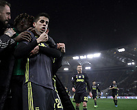 Football, Serie A: S.S. Lazio - Juventus, Olympic stadium, Rome, January 27, 2019. <br /> Juventus' Joao Cancelo celebrates after scoring with his teammates during the Italian Serie A football match between S.S. Lazio and Juventus at Rome's Olympic stadium, Rome on January 27, 2019.<br /> UPDATE IMAGES PRESS/Isabella Bonotto
