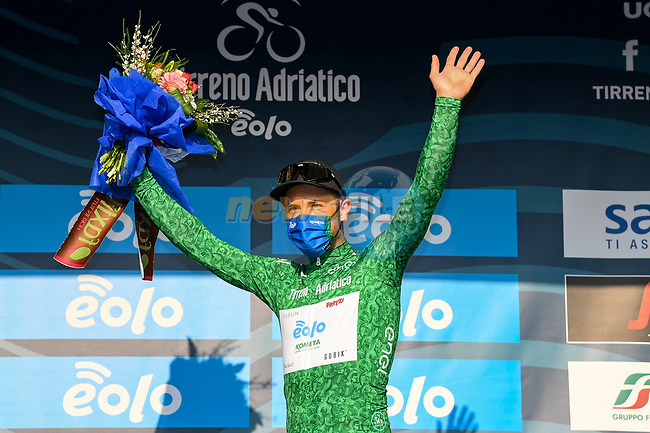 Vincenzo Albanese (ITA) Eolo-Kometa Cycling Team wears the first mountains Maglia Verde at the end of Stage 1 of Tirreno-Adriatico Eolo 2021, running 156km from Lido di Camaiore to Lido di Camaiore, Italy. 10th March 2021. <br /> Photo: LaPresse/Gian Mattia D'Alberto | Cyclefile<br /> <br /> All photos usage must carry mandatory copyright credit (© Cyclefile | LaPresse/Gian Mattia D'Alberto)