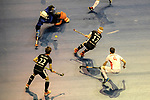 Berlin, Germany, February 10: During the FIH Indoor Hockey World Cup semi-final match between Germany (black) and Iran (white) on February 10, 2018 at Max-Schmeling-Halle in Berlin, Germany. Final score 6-2. (Photo by Dirk Markgraf / www.265-images.com) *** Local caption *** Christopher RUEHR #17 of Germany, NEJAD Sasan HATAMI #1 of Iran