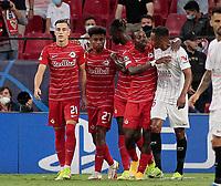 14th September 2021; Sevilla, Spain: UEFA Champions League football,  Sevilla FC versus RB Salzburg; Salzburg team celebrates a penalty kick goal from Luka Sucic of Salzburg in the 21st minute for 0-1