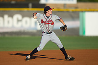 Danville Braves shortstop Riley Delgado (5) makes a throw to first base between innings of the game against the Burlington Royals at Burlington Athletic Stadium on August 12, 2017 in Burlington, North Carolina.  The Braves defeated the Royals 5-3.  (Brian Westerholt/Four Seam Images)