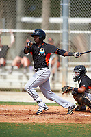 Miami Marlins Javier Lopez (90) during a minor league Spring Training intrasquad game on March 31, 2016 at Roger Dean Sports Complex in Jupiter, Florida.  (Mike Janes/Four Seam Images)