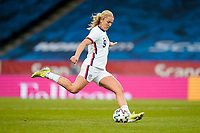 SOLNA, SWEDEN - APRIL 10: Lindsey Horan #9 of the United States takes a shot during a game between Sweden and USWNT at Friends Arena on April 10, 2021 in Solna, Sweden.