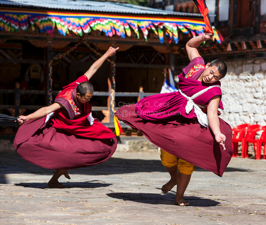 Prakhar Lhakhang, Bumthang, Bhutan.  Dancers Performing  at the Duechoed Religious Festival.