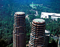 aerial photograph of Coca residential towers, Polanco, Mexico City, Mexico, part of the Del Bosqque complex designed by Pelli Clarke Pelli architects with Chapultepek park and the National Museum of Anthropology in the background | Fotografía aérea de las torres residenciales de Coca, Polanco, Ciudad de México, México, parte del complejo Del Bosqque  con el parque Chapultepek y el Museo Nacional de Antropología al fondo.