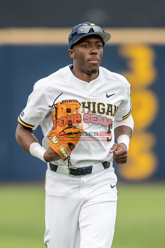Michigan Wolverines outfielder Christian Bullock (5) in action against the Maryland Terrapins on April 13, 2018 in a Big Ten NCAA baseball game at Ray Fisher Stadium in Ann Arbor, Michigan. Michigan defeated Maryland 10-4. (Andrew Woolley/Four Seam Images)