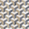 Francois Grand, a waterjet stone and Serenity glass mosaic, shown in matte Raw Fiber, honed Allure and honed Calacatta Tia, is part of the Illusions™ Collection by New Ravenna.
