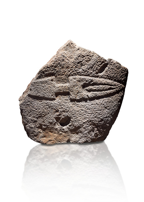 Fragmant of a Late European Neolithic prehistoric Menhir standing stone with carving of a knife on its face side.  Excavated from Palas de Nuraxi II, Laconi. Menhir Museum, Museo della Statuaria Prehistorica in Sardegna, Museum of Prehoistoric Sardinian Statues, Palazzo Aymerich, Laconi, Sardinia, Italy. White background.
