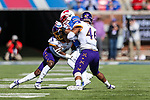East Carolina Pirates defensive lineman Chance Purvis (46) in action during the game between the East Caroline Pirates  and the SMU Mustangs at the Gerald J. Ford Stadium in Fort Worth, Texas.