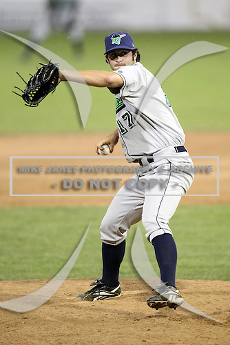 Jamestown Jammers pitcher Jordan Conley (17) during a game vs. the Batavia Muckdogs at Dwyer Stadium in Batavia, New York July 17, 2010.   Jamestown defeated Batavia 5-2.  Photo By Mike Janes/Four Seam Images
