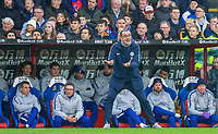 The Chelsea bench watch Chelsea manager Maurizio SARRI during the Premier League match between Crystal Palace and Chelsea at Selhurst Park, London, England on 30 December 2018. Photo by Andrew Aleks.<br /> .<br /> (Photograph May Only Be Used For Newspaper And/Or Magazine Editorial Purposes. www.football-dataco.com)