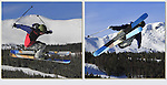 Freeskier in the Freeway Terrain Park, Breckenridge Ski Area, Colorado.
