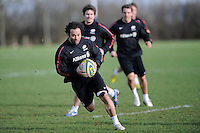 20130131 Copyright onEdition 2013©.Free for editorial use image, please credit: onEdition..Joe Maddock of Saracens in action during the Saracens Captains Run at Old Albanians Rugby Club, St Albans on Thursday 31st January 2013 (Photo by Rob Munro)..For press contacts contact: Sam Feasey at brandRapport on M: +44 (0)7717 757114 E: SFeasey@brand-rapport.com..If you require a higher resolution image or you have any other onEdition photographic enquiries, please contact onEdition on 0845 900 2 900 or email info@onEdition.com.This image is copyright onEdition 2013©..This image has been supplied by onEdition and must be credited onEdition. The author is asserting his full Moral rights in relation to the publication of this image. Rights for onward transmission of any image or file is not granted or implied. Changing or deleting Copyright information is illegal as specified in the Copyright, Design and Patents Act 1988. If you are in any way unsure of your right to publish this image please contact onEdition on 0845 900 2 900 or email info@onEdition.com