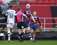 1st January 2021; Ashton Gate Stadium, Bristol, England; Premiership Rugby Union, Bristol Bears versus Newcastle Falcons; Dave Attwood of Bristol Bears receives a yellow card from Referee Christopher Ridley