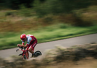 Rick Zabel (DUI/Katusha- Alpecin) speeding<br /> <br /> Time Trial through the magnificent Lake District National Park in Cumbria<br /> <br /> Stage 5 (TTT): Cockermouth to Whinlatter Pass (14km)<br /> 15th Ovo Energy Tour of Britain 2018