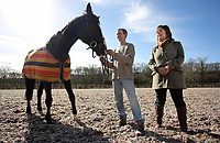 Pictured: Paul Sheldrake (C) with Kay Sinclair-James (R) and Ellerslie Tom in Clarbeston, Pembrokeshire, Wales, UK. Thursday 09 March 2017<br /> Re: Former race horse Ellerslie Tom that has been re-united with Paul Sheldrake, 45, after neighbour and friend Kay Sinclair-James, found him for sale.