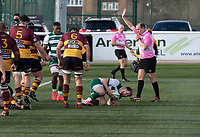 Fraser Strachan of Ealing Trailfinders celebrates scoring a try during the Greene King IPA Championship match between Ealing Trailfinders and Ampthill RUFC being played behind closed doors due to the COVID-19 pandemic restrictions at Castle Bar , West Ealing , England  on 13 March 2021. Photo by Alan Stanford / PRiME Media Images